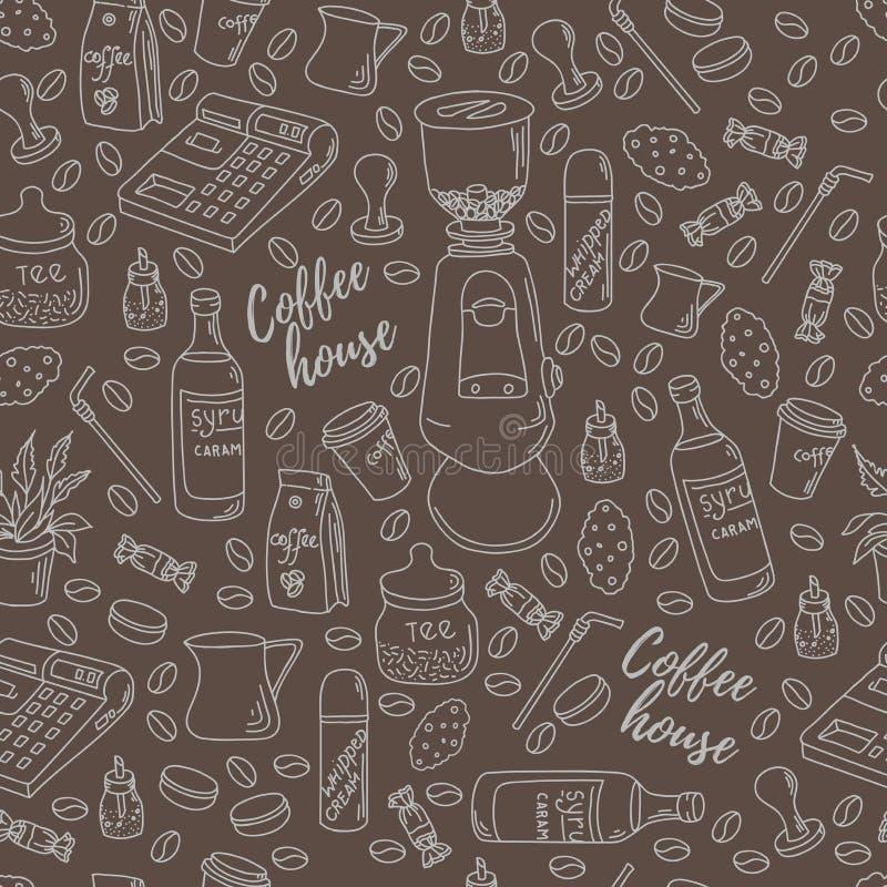Безшовная картина для печатать на бумаге или ткани Мотивы кофейни иллюстрация штока