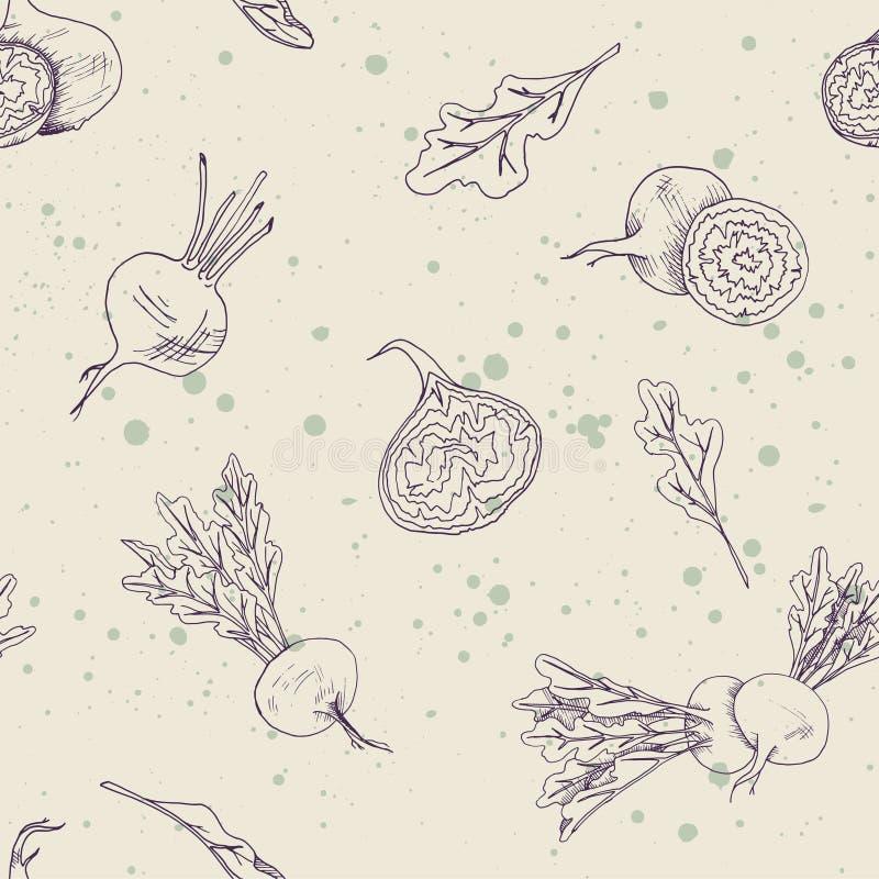 Безшовная картина еды с овощами бураков на предпосылке цвета слоновой кости с брызгает иллюстрация штока