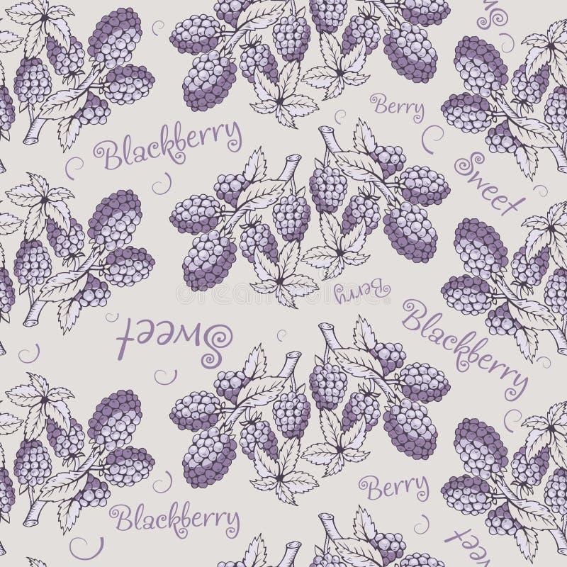 Безшовная картина ежевики с ветвью и листьями иллюстрация вектора