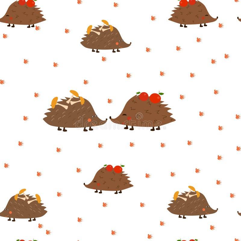 Безшовная картина: ежи, грибы, яблоки, следы ноги на белой предпосылке r иллюстрация вектора