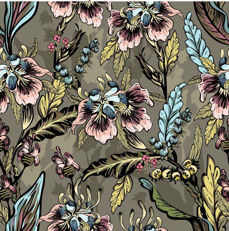 Безшовная картина декоративных цветков бесплатная иллюстрация