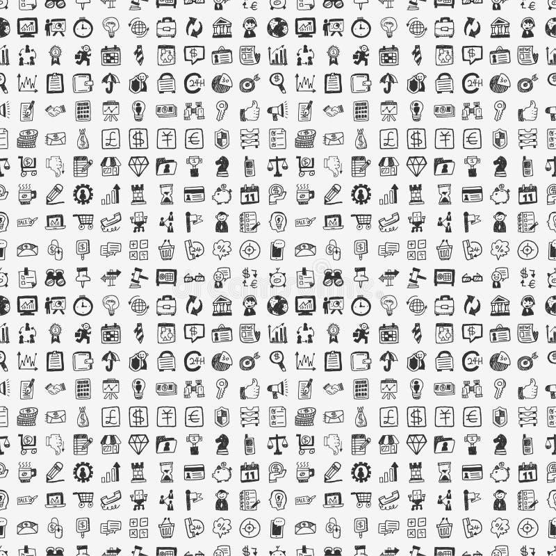 Безшовная картина дела 100 doodle иллюстрация вектора