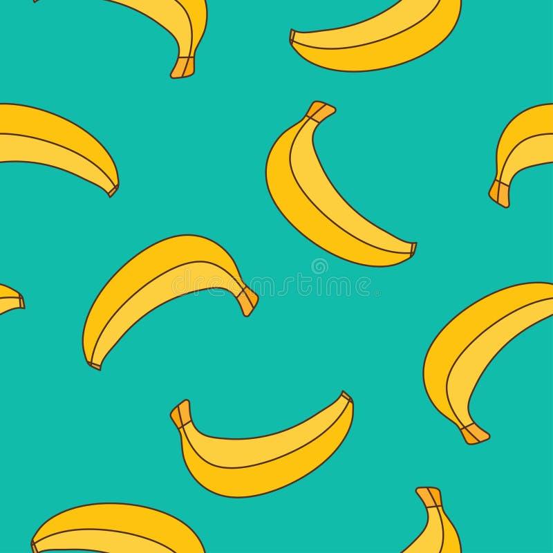 Безшовная картина желтых бананов на голубой предпосылке иллюстрация штока