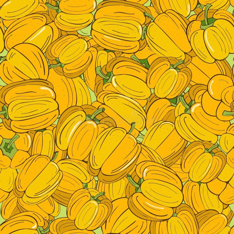 Безшовная картина желтых перцев с зелеными sprigs иллюстрация штока