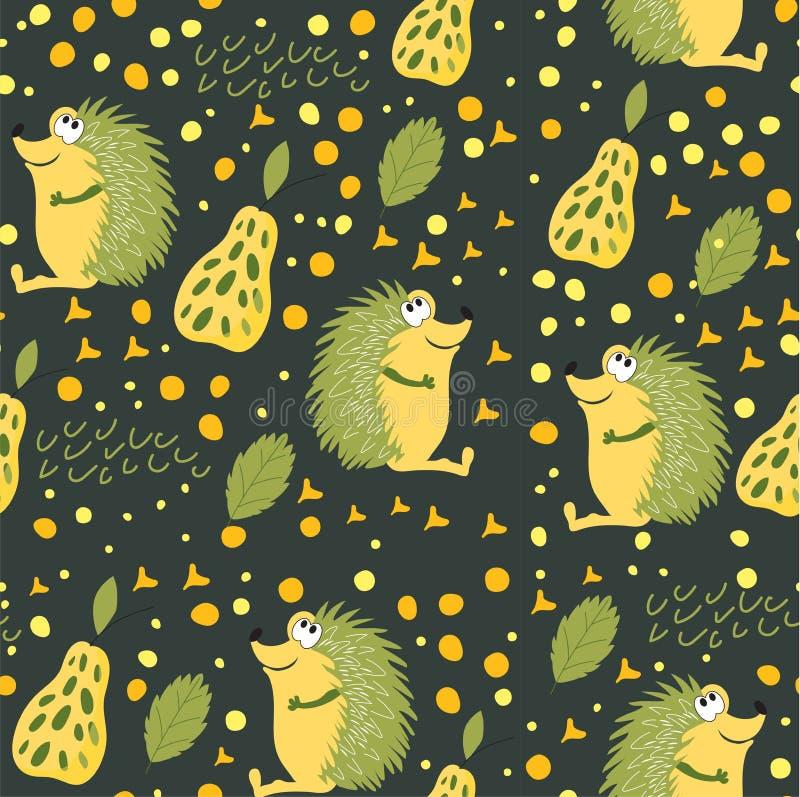 Безшовная картина животных леса Еж с зелеными иглами сидит на glade мисс леса Обои для комнаты детей, bo бесплатная иллюстрация