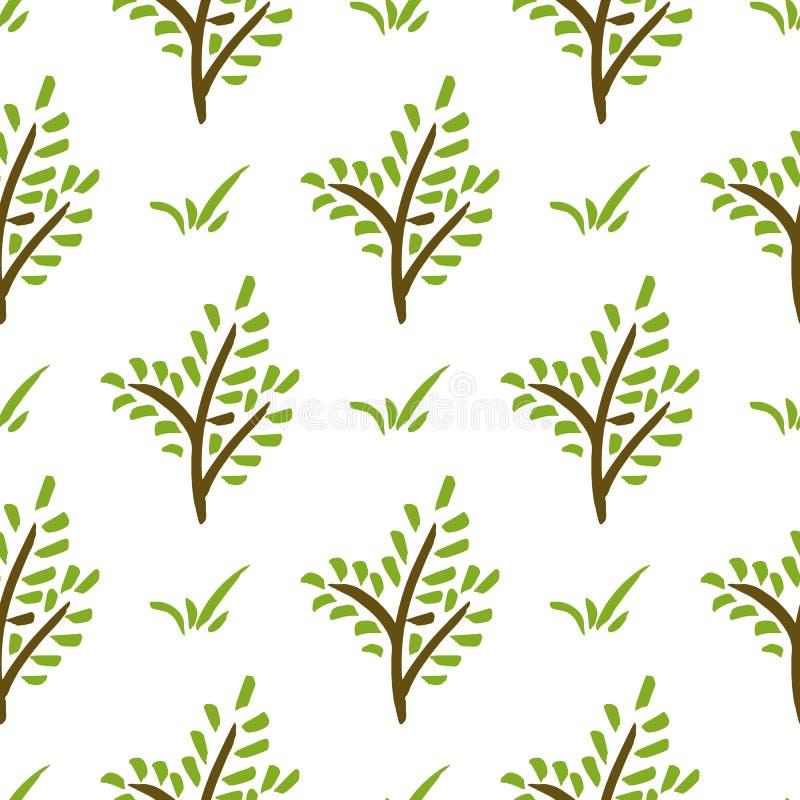 Безшовная картина завода Ветвь нарисованная рукой зеленая иллюстрация вектора