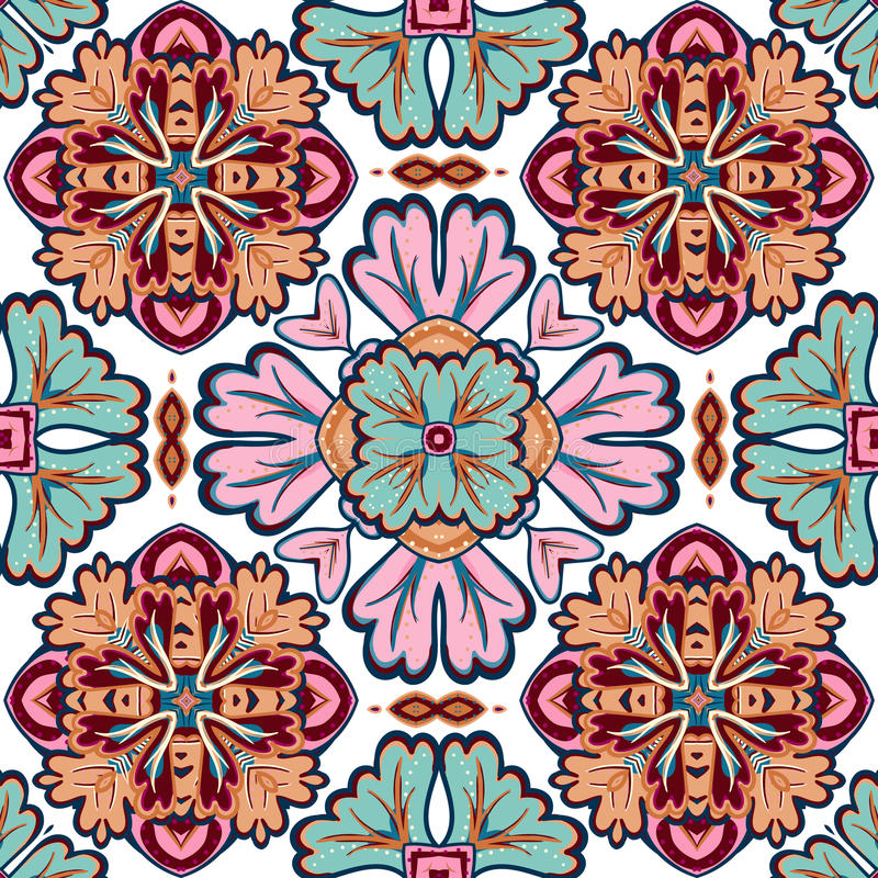 Безшовная картина заплатки от марокканца, португальских плиток, Azulejo, орнаментов бесплатная иллюстрация
