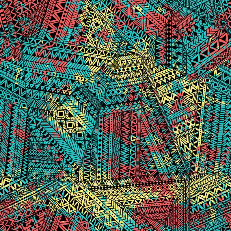 Безшовная картина заплатки Текстура Grunge Желтый цвет, апельсин, голубой иллюстрация вектора