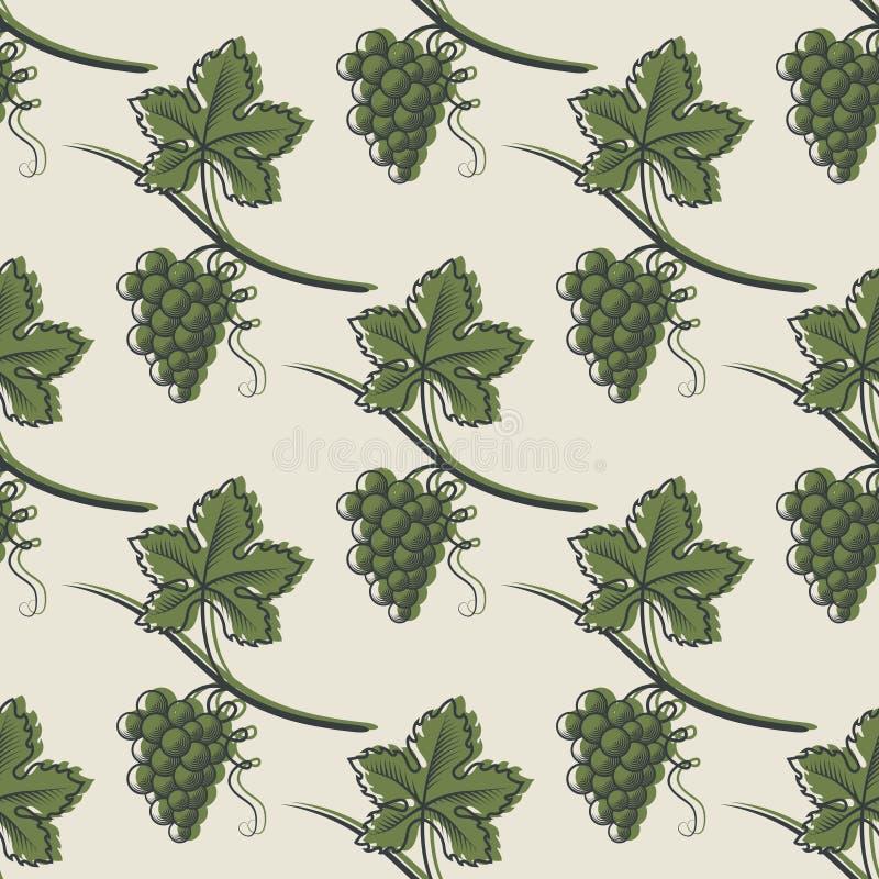Безшовная картина зеленой виноградины иллюстрация штока