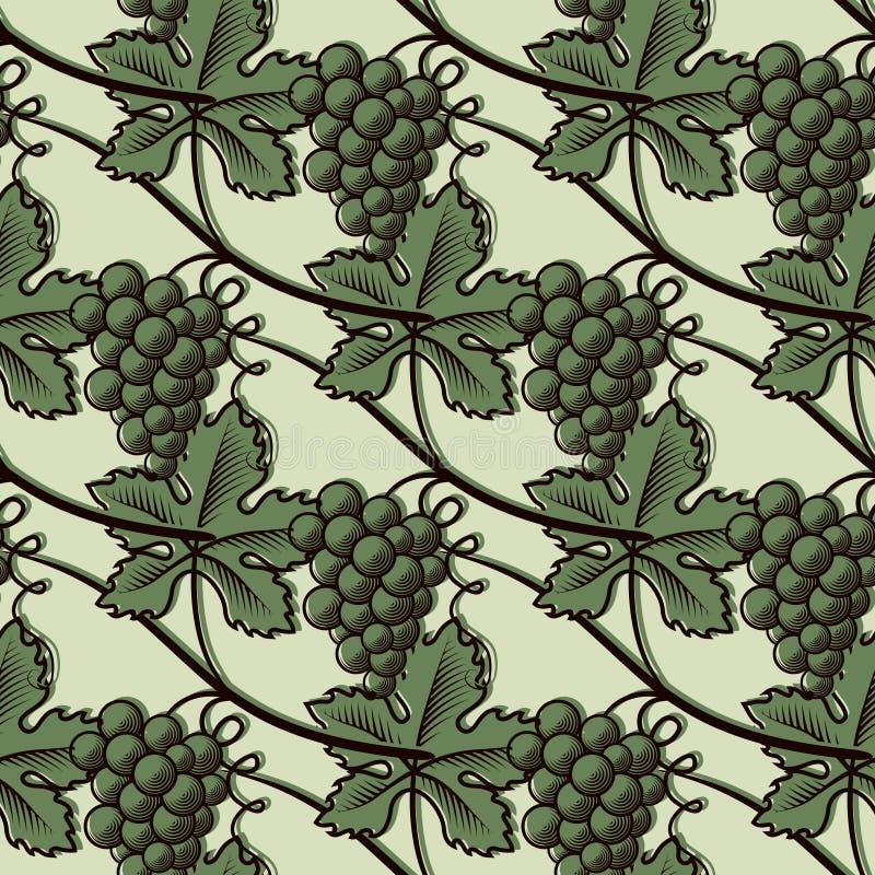 Безшовная картина зеленой виноградины иллюстрация вектора