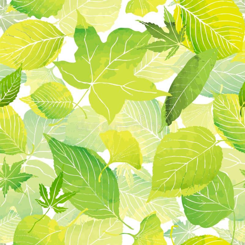 Безшовная картина зеленых листьев иллюстрация вектора