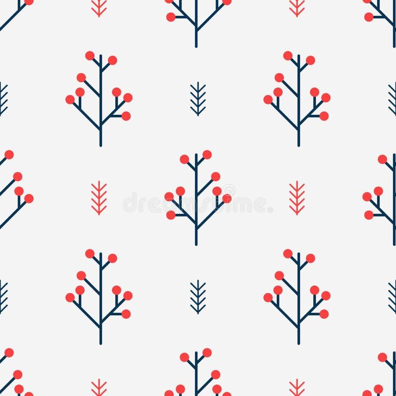 Безшовная картина зимы с красными ягодами Простая предпосылка вектора нордического геометрического стиля бесплатная иллюстрация