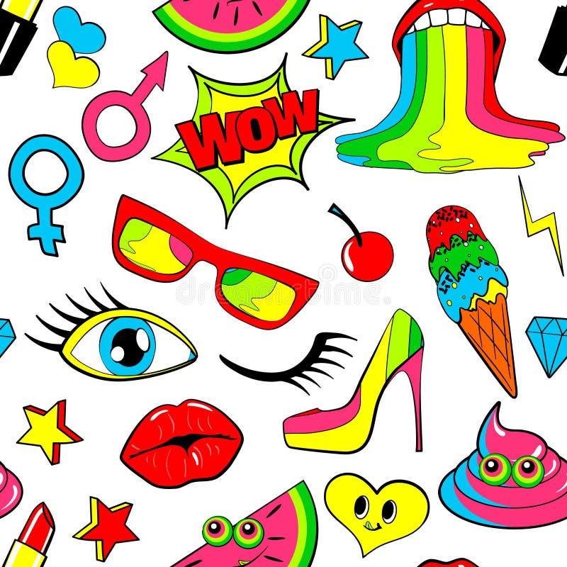 Безшовная картина значков заплаты моды губы, поцелуй, сердце, пузырь речи, звезда, мороженое, губная помада, глаз, дерьмо вектор иллюстрация вектора