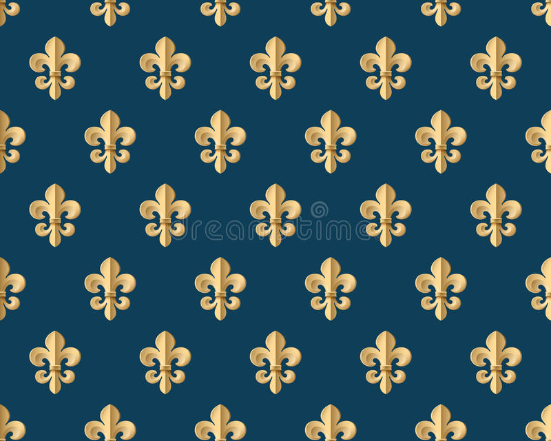 Безшовная картина золота с fleur-de-lys на синей предпосылке также вектор иллюстрации притяжки corel бесплатная иллюстрация