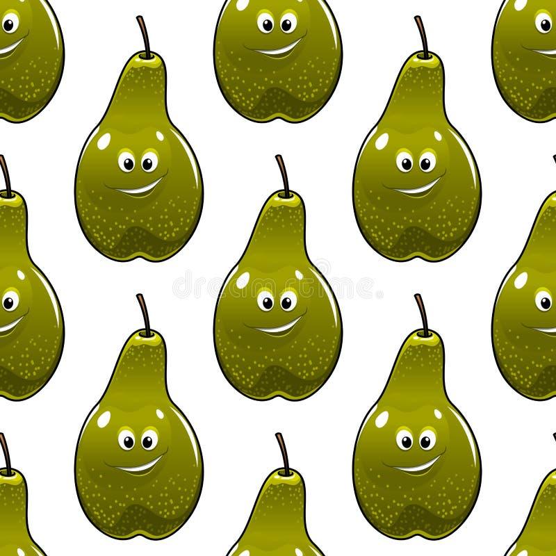 Безшовная картина здоровых свежих зеленых груш иллюстрация штока