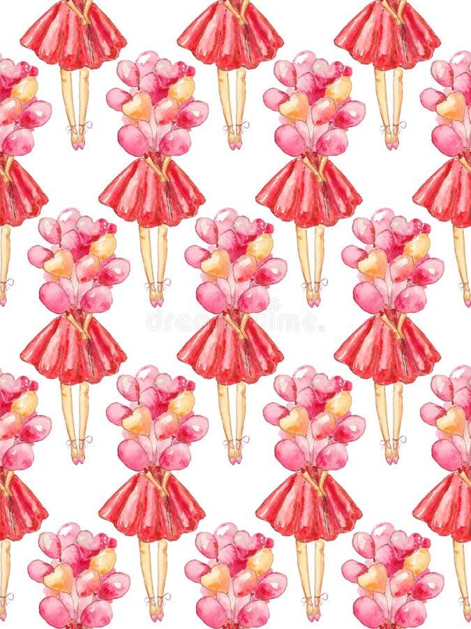 Безшовная картина иллюстрации акварели безликой девушки в красном платье держа пук воздушных шаров на белой предпосылке иллюстрация вектора