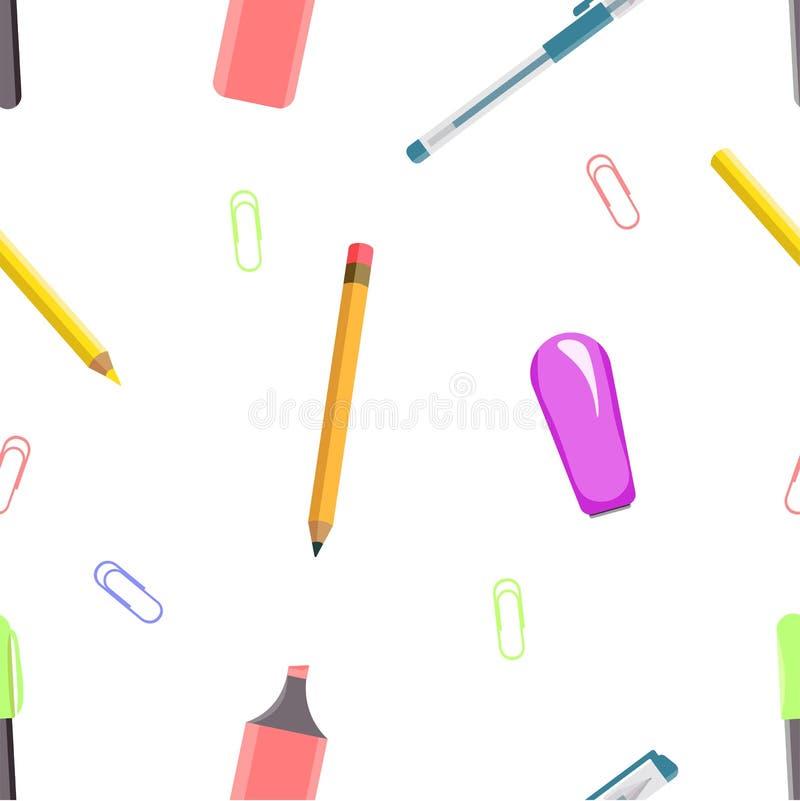 Безшовная картина инструментов офиса иллюстрация вектора