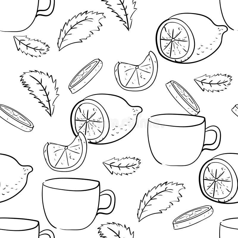 Безшовная картина листьев, лимонов и чашек мяты иллюстрация штока
