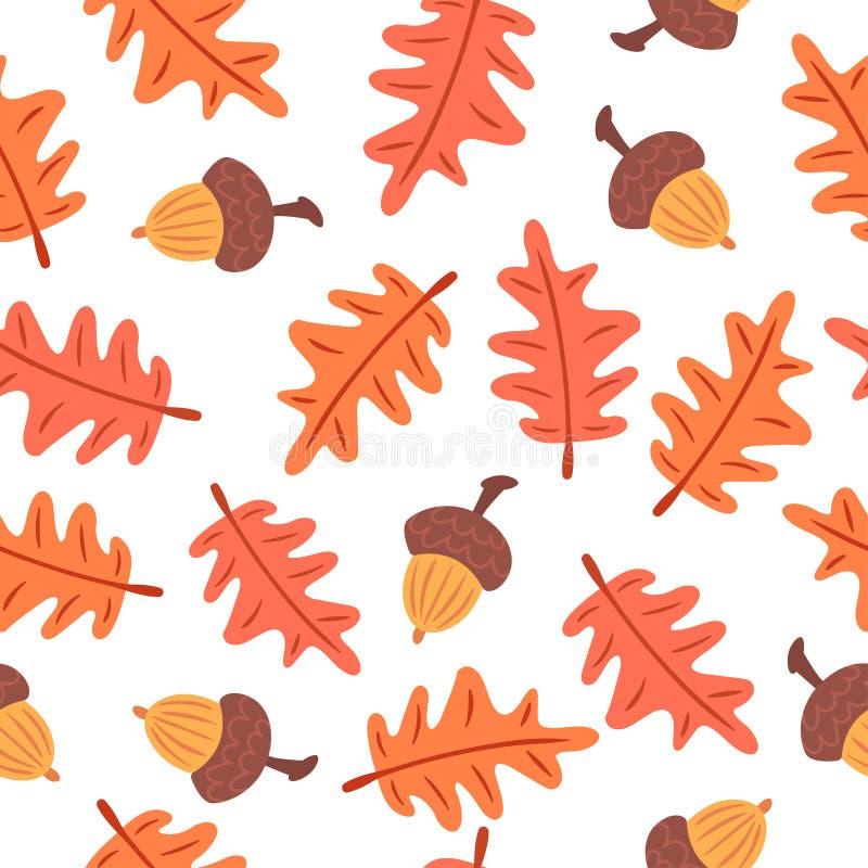 Безшовная картина листьев и жолудей осени иллюстрация вектора