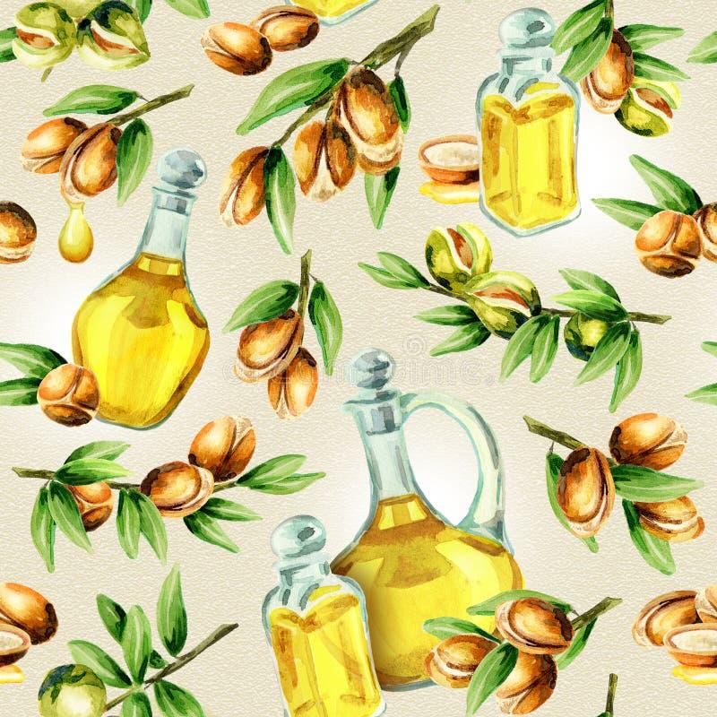 Безшовная картина и бутылок масла нарисованных рукой гаек argan акварели иллюстрация вектора