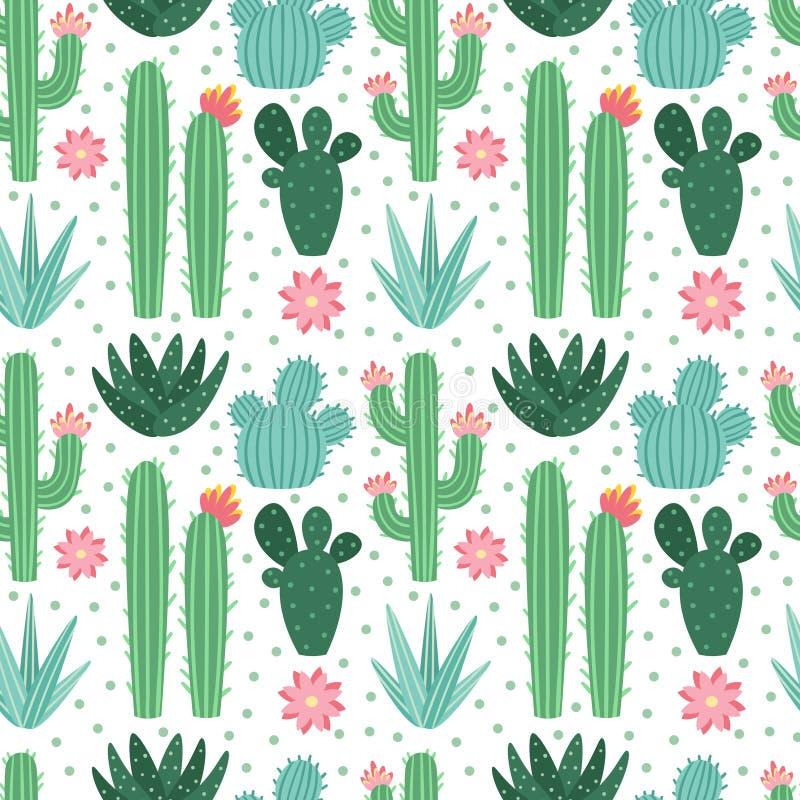 Безшовная картина кактуса Экзотические комнатные растения кактусов пустыни, повторяя предпосылку вектора кактусов иллюстрация штока