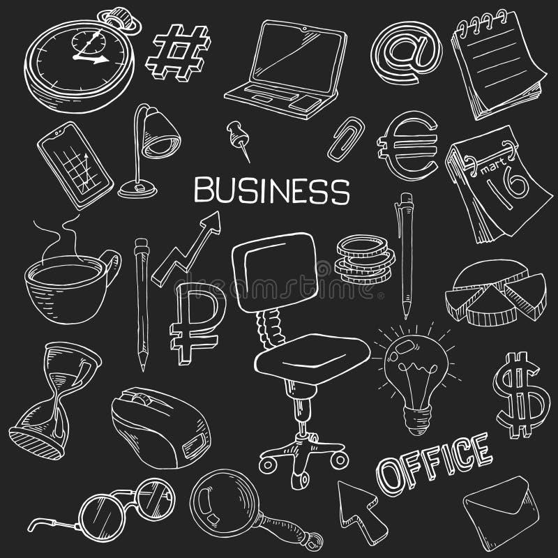 Безшовная картина канцелярские товаров Собрание канцелярских принадлежностей в стиле doodle иллюстрация штока