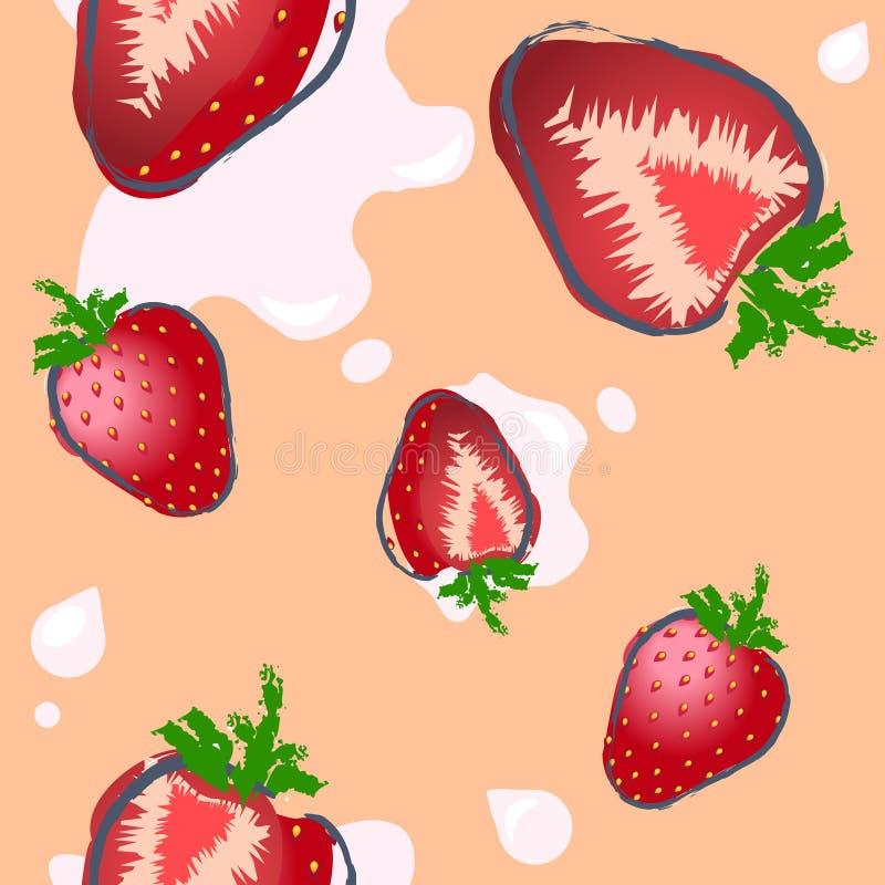 Безшовная картина клубники на пастельной предпосылке стоковое изображение