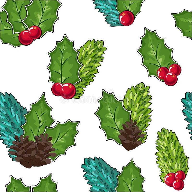 Безшовная картина клюкв, конусов и ветвей и ягод ели Иллюстрация вектора Doodle Cowberry в красном и зеленом _ иллюстрация штока