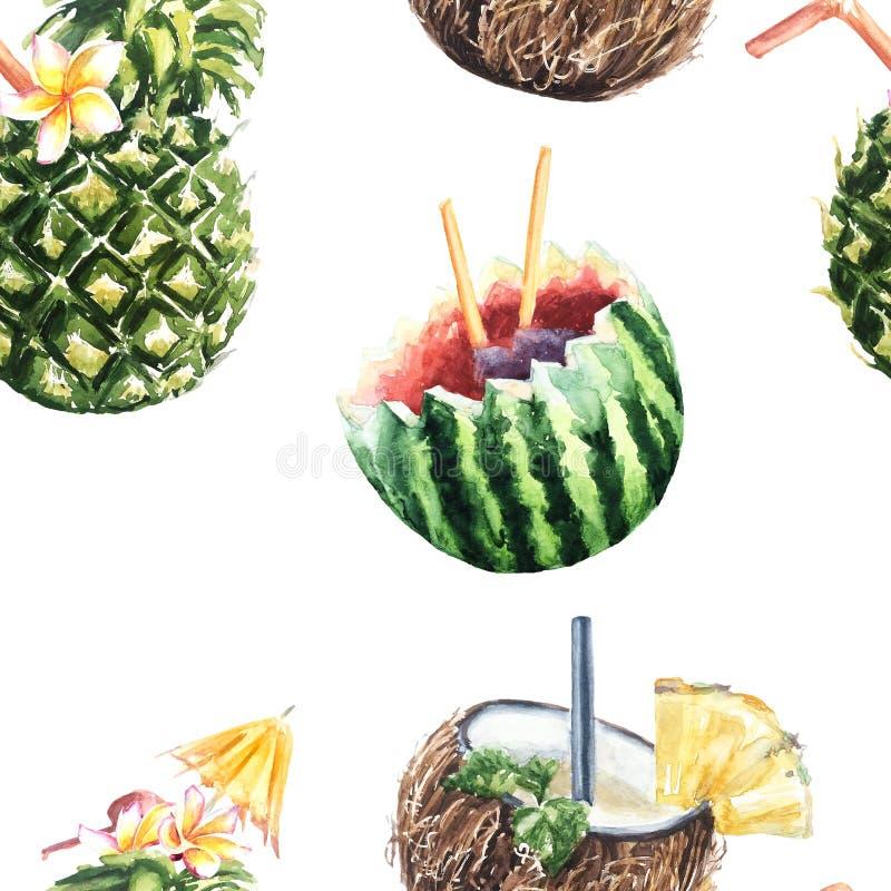 Безшовная картина коктеиля плодоовощ ананаса, кокоса и wat иллюстрация вектора