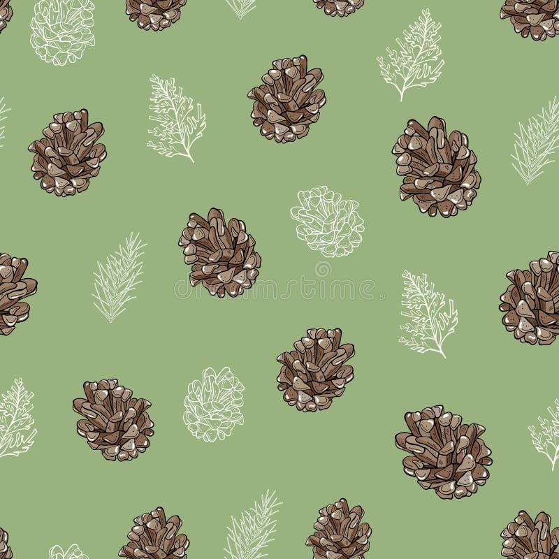 Безшовная картина коричневых конусов и coniferous ветвей на зеленой предпосылке иллюстрация вектора