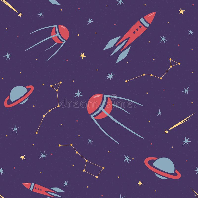 Безшовная картина космоса для детей со звездами, ракетой, созвездием, спутником, кометой и планетами в стиле мультфильма иллюстрация вектора