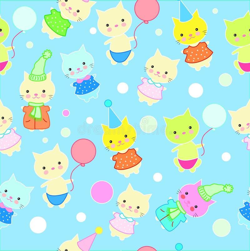 Безшовная картина котов в различных костюмах в стиле детей иллюстрация вектора