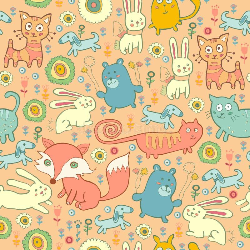 Безшовная картина котов, лис, и кроликов doodle иллюстрация штока