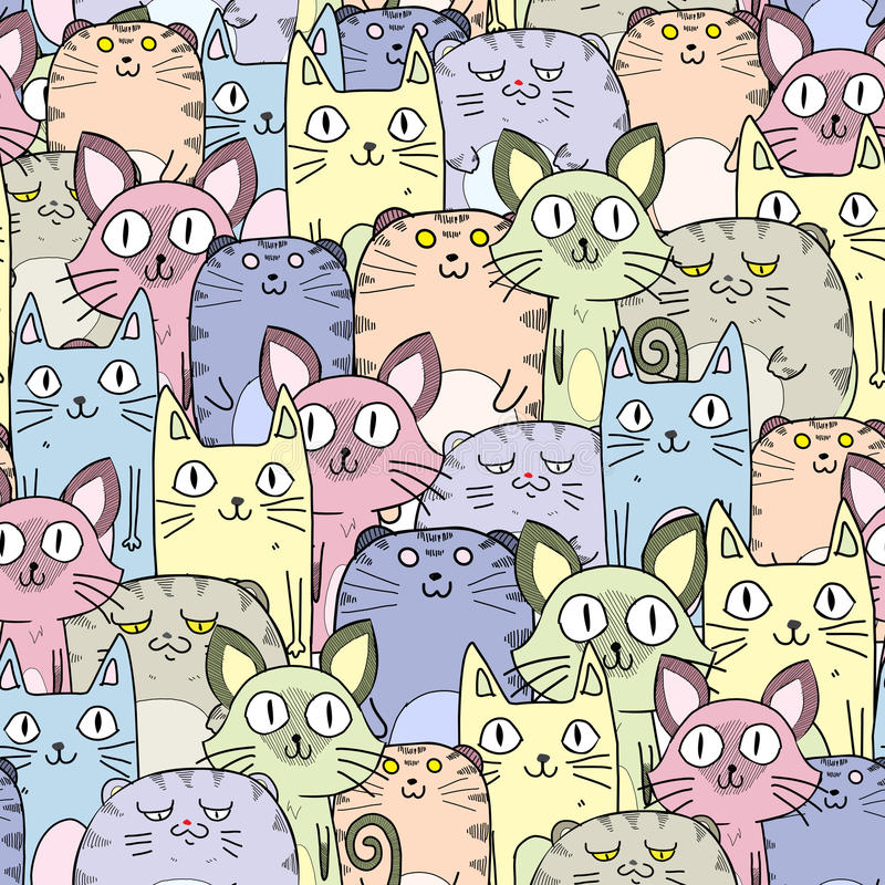 Безшовная картина котов иллюстрация штока