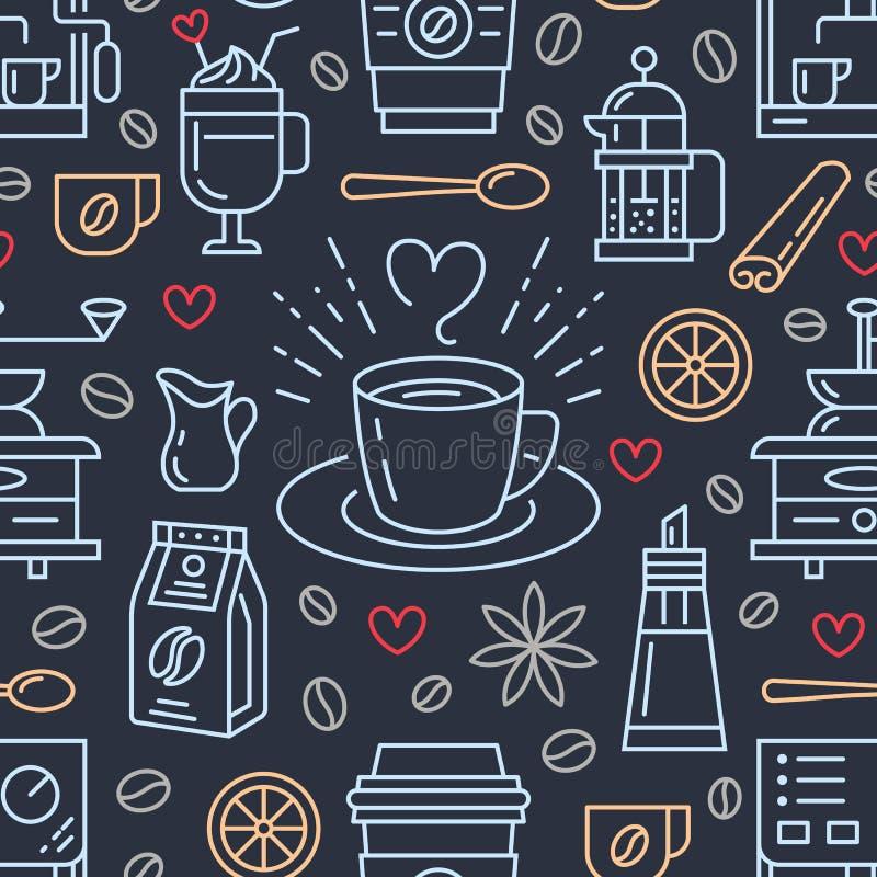 Безшовная картина кофе, предпосылки вектора Милые напитки, линия значки горячих пить плоская - машина кофеварки, фасоли бесплатная иллюстрация