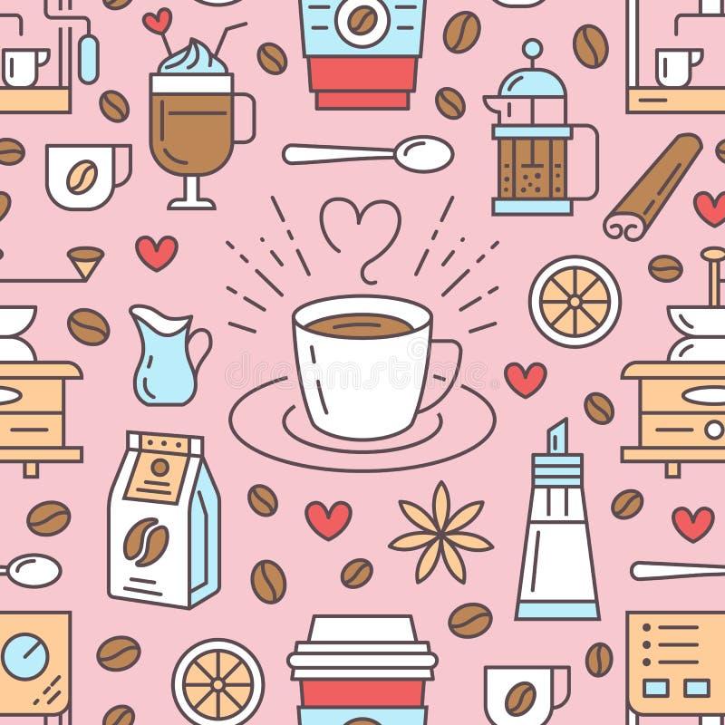 Безшовная картина кофе, предпосылки вектора Милые напитки, линия значки горячих пить плоская - машина кофеварки, фасоли иллюстрация штока