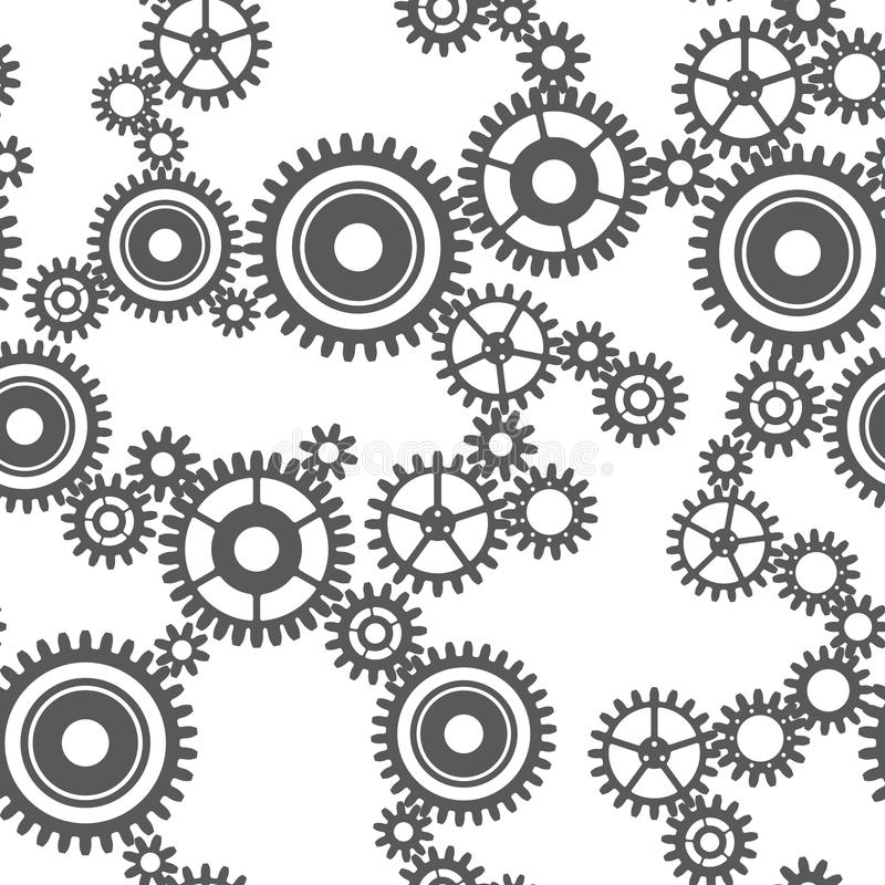 Безшовная картина колес шестерни иллюстрация штока
