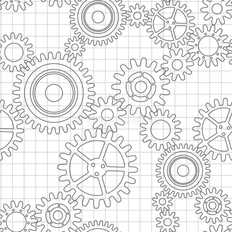Безшовная картина колес шестерни иллюстрация вектора