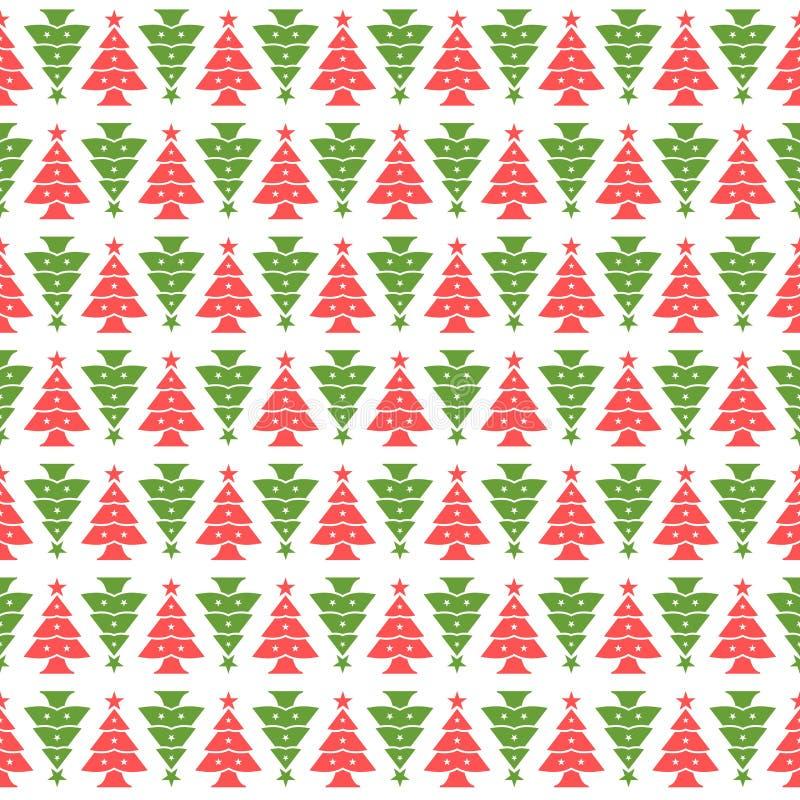 Безшовная картина красных и зеленых рождественских елок иллюстрация вектора