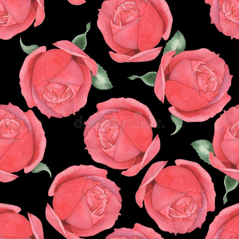 Безшовная картина красных роз E Рук-чертеж 7 иллюстрация штока