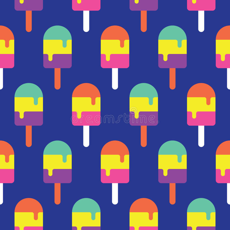 Безшовная картина красочная, вектор Popsicle конфеты стоковое фото rf