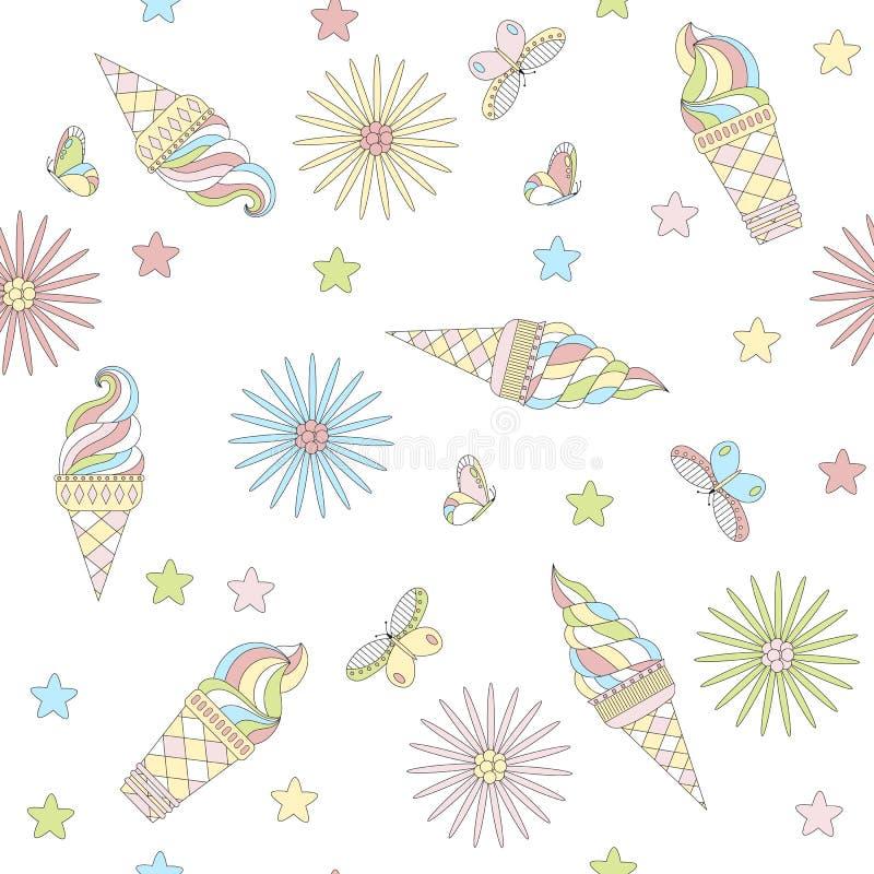 Безшовная картина красочного мороженого иллюстрация штока