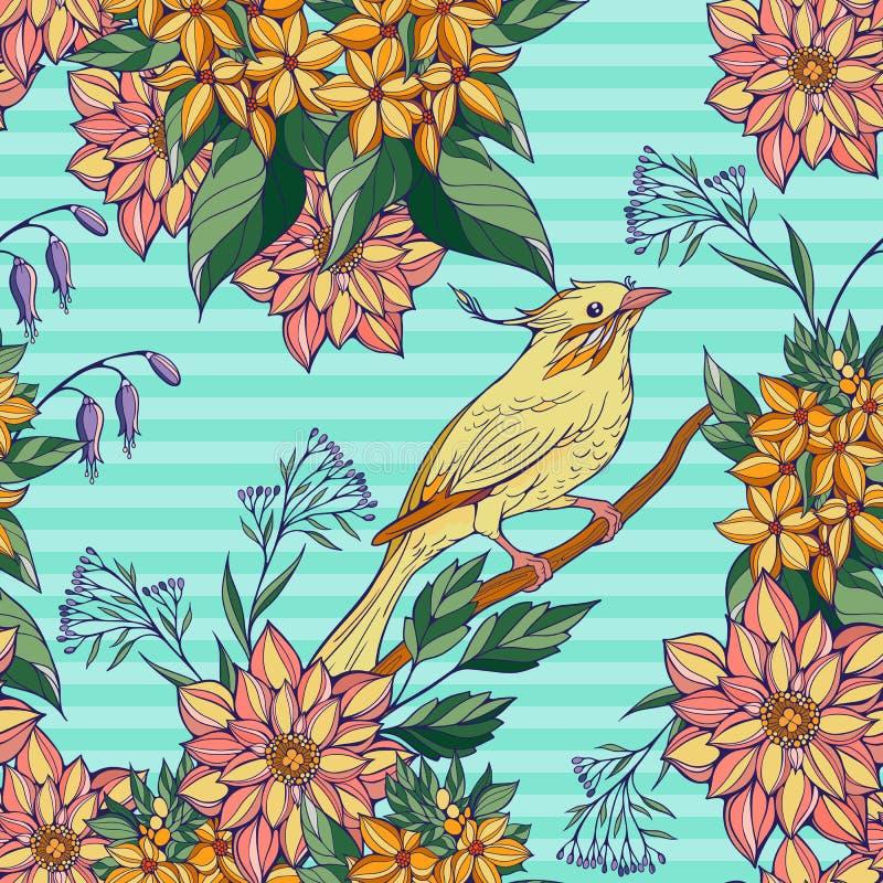 Безшовная картина красочного усаживания птицы иллюстрация вектора