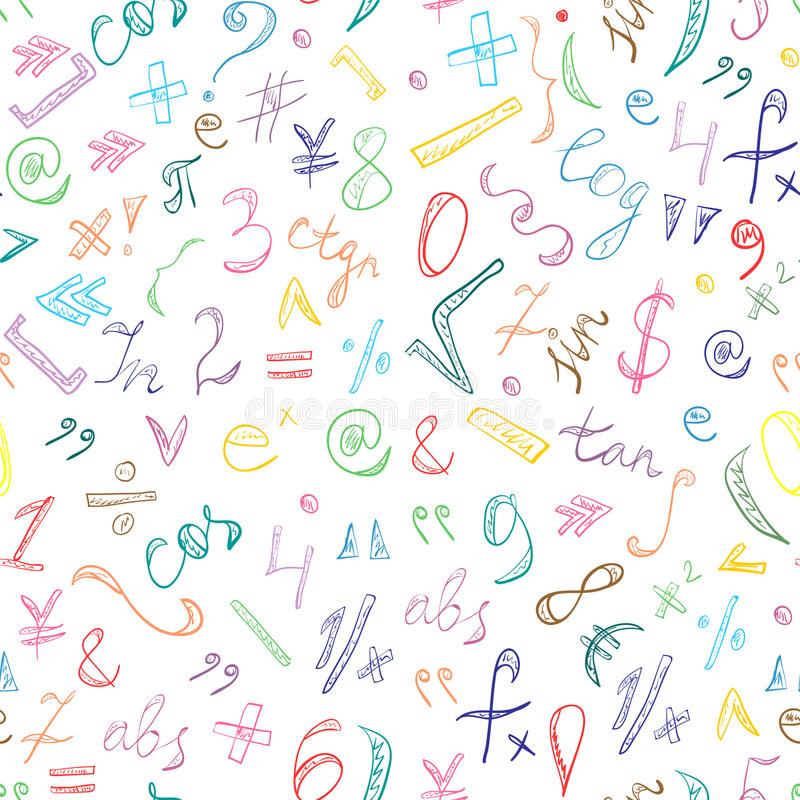 Безшовная картина красочной нарисованных рукой символов и номеров Doodle Знаки математики Scribble иллюстрация вектора