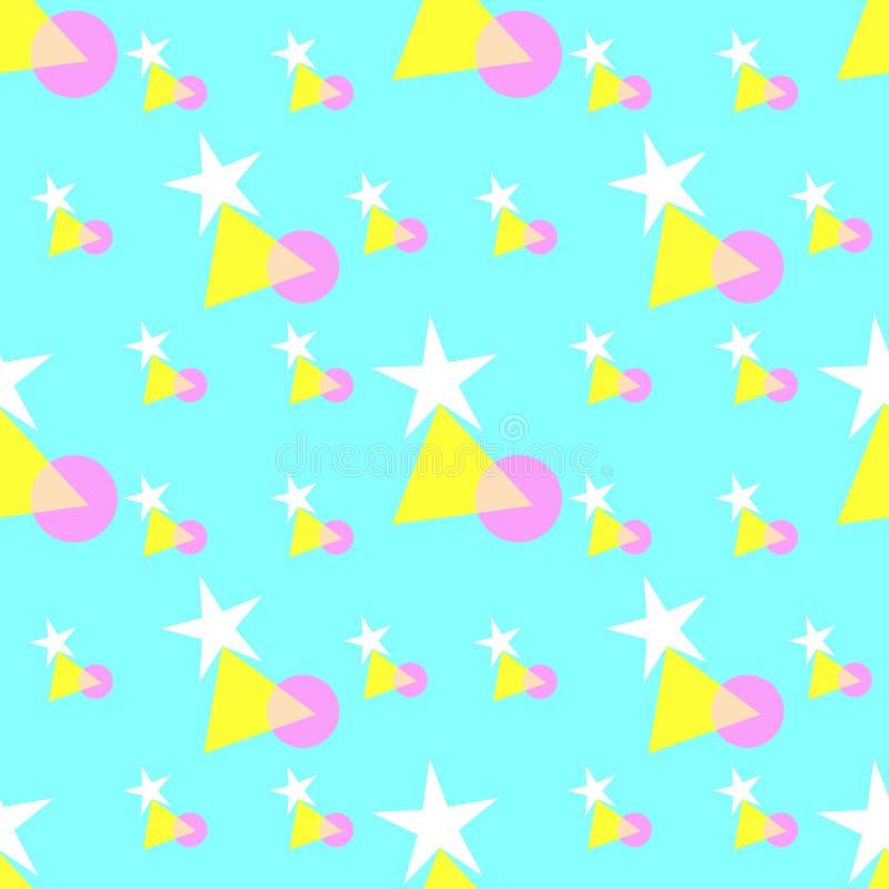 Безшовная картина красочных звезд, треугольника, и форм круга, пастельные цвета - белые, желтых, пинка, на мягкой голубой предпос иллюстрация вектора