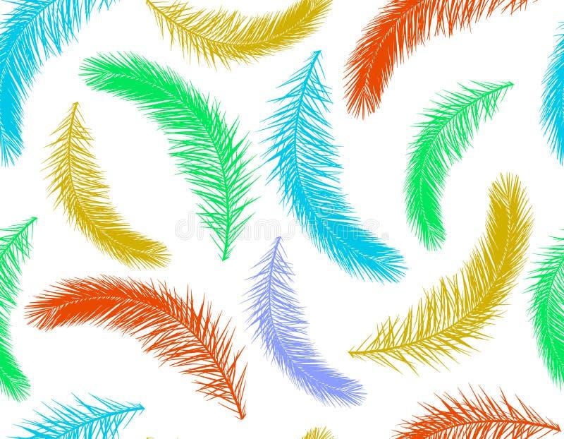 Безшовная картина красочных листьев силуэта пальмы r иллюстрация штока