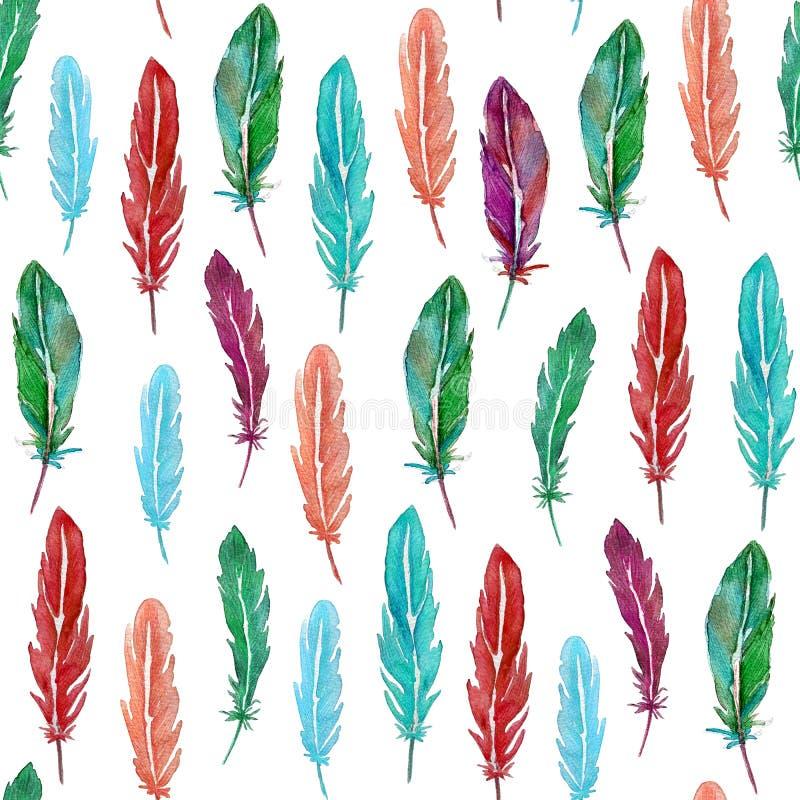 Безшовная картина красочных пер акварели Нарисованная рука бесплатная иллюстрация
