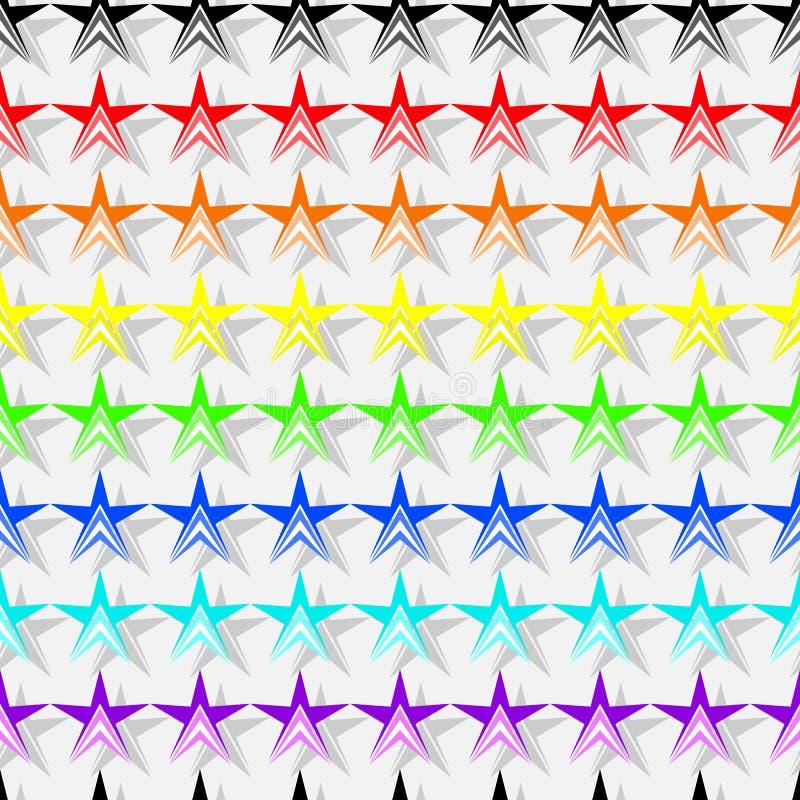 Безшовная картина красочных форм звезд в цветах радуги, серая тень, белый свет - серая предпосылка Плоский вектор дизайна иллюстрация штока