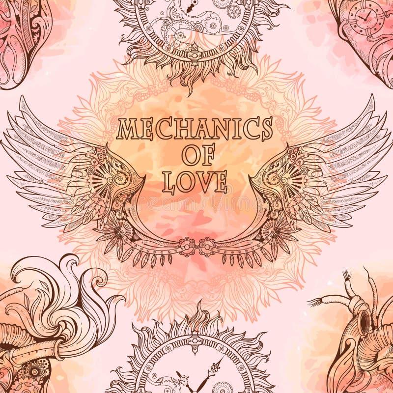 Безшовная картина крылов, сердца и clockwork в styl steampunk иллюстрация штока