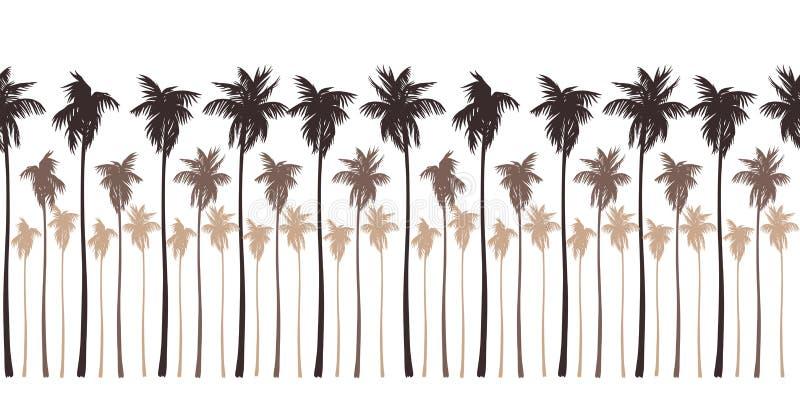 Безшовная картина ландшафта с коричневыми силуэтами пальм иллюстрация штока